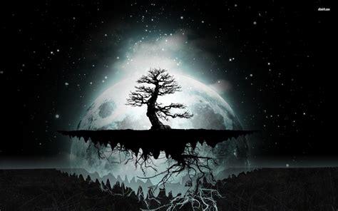 floating tree island wallpaper digital art wallpapers