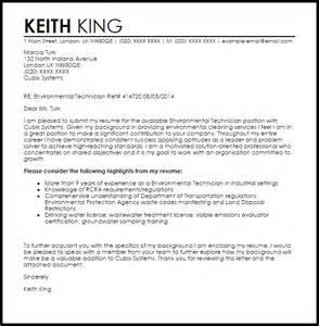 environmental scientist resume cover letter environmental technician cover letter sle livecareer