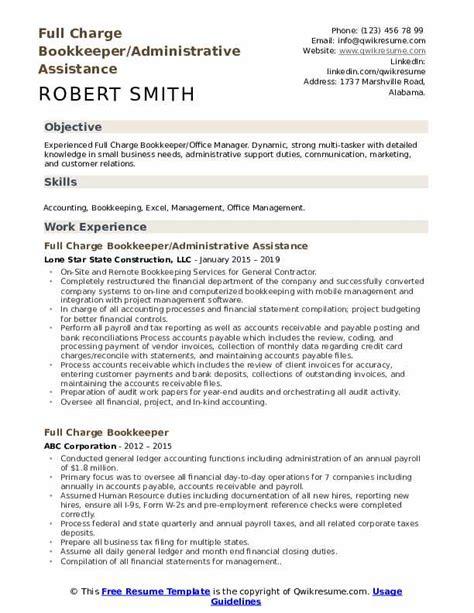 full charge bookkeeper resume samples qwikresume
