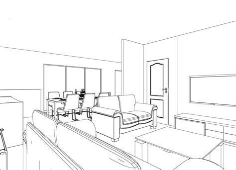 3d Salle A Manger Croquis 3d Noir Et Blanc Salon Salle 224 Manger Plan 3d