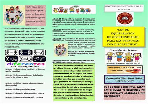 tripticos acerca de educacion inicial seminario de educaci 211 n inclusiva triptico sobre ley