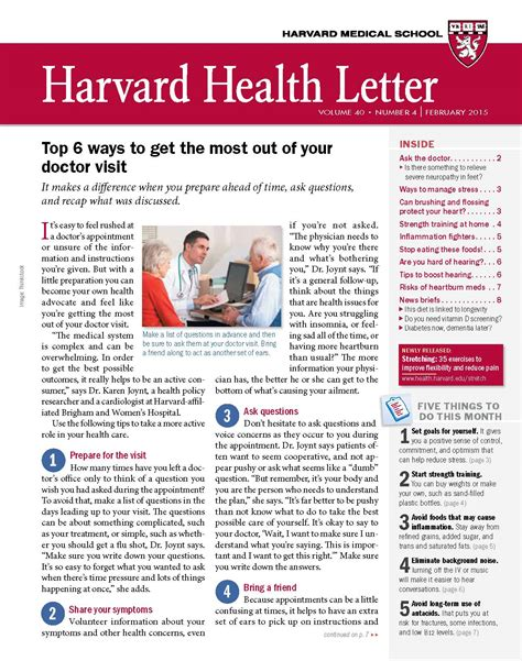 harvard health letter get the most out of a visit to the doctor harvard 22099 | L0215