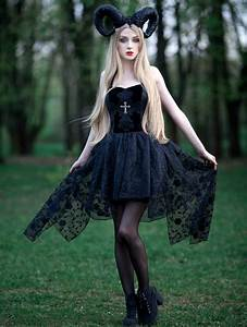Elegant Black Asymmetric Gothic Dress