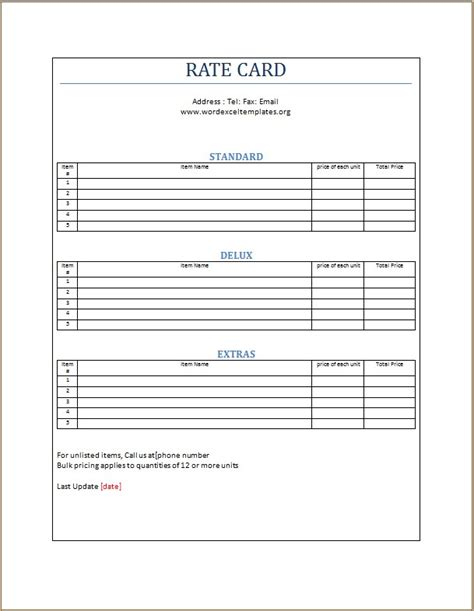 rate card template word excel templates