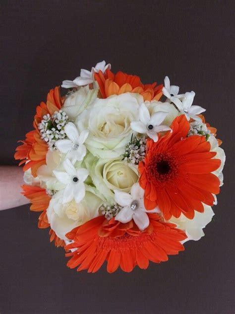 orange  white flowers san francisco giants wedding