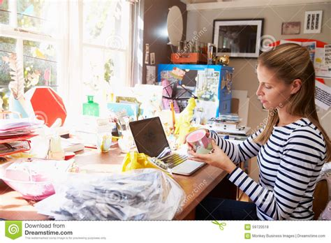 Woman Running Small Business From Home Office Stock Photo Basement Wall Options Damp Proofing Walls Roof Ideas For Rent In Jamaica Queens Homes With Walkout Plans Lighting Basements How To Stop Your From Flooding Easy Ceiling