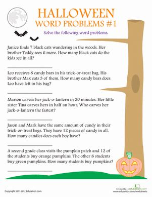 halloween word problems worksheet education com