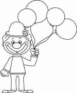 Black and White Clown with Balloons Clip Art - Black and ...