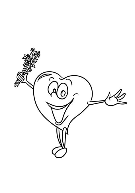 happy cartoon heart coloring page  printable