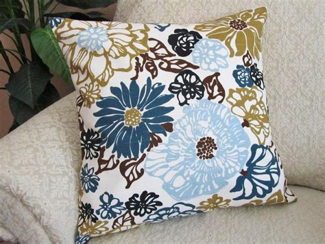 throw pillow cover decorative blue olive green brown