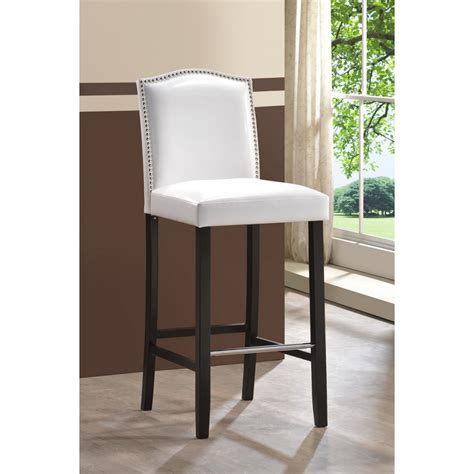 libra white modern bar stool  nail head trim  white