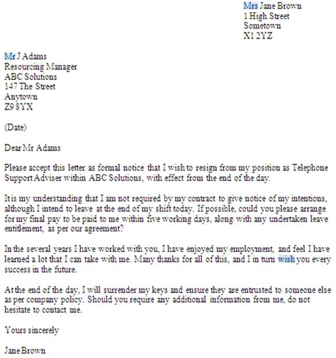 notice resignation letter examples  examples