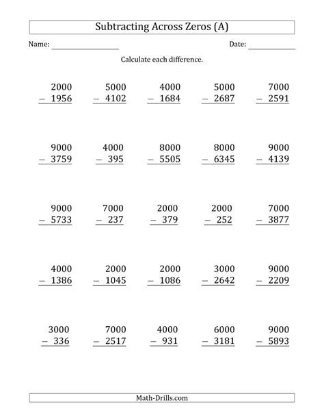 subtracting across zeros from multiples of 1000 a