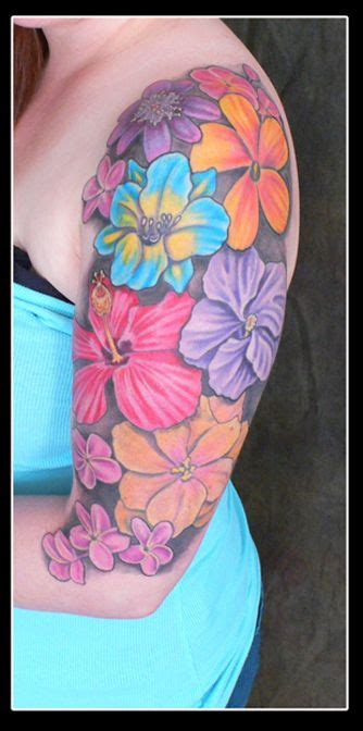 flower tattoo color tattoo upper arm tattoo plurabella
