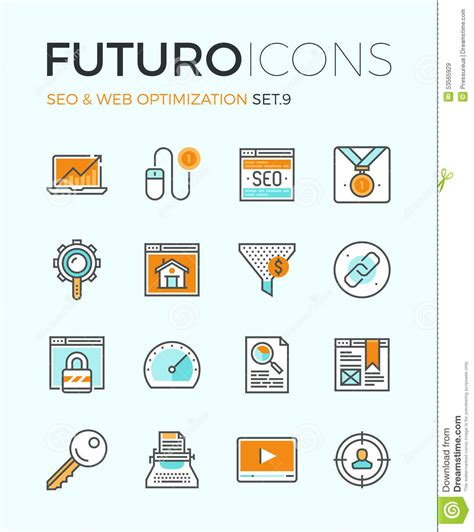 Seo Website Optimization by Seo And Web Optimization Futuro Line Icons Stock Vector