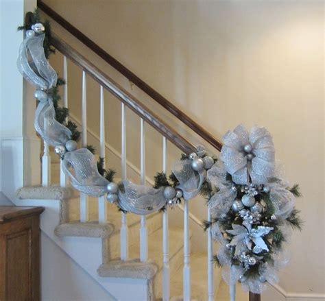 stair garland ideas stair garland swag wreath stairway banister post swag mantel door deco mesh