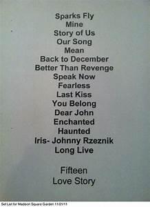 Taylor Swift Set List QuotSpeak Now Tourquot Song Lists