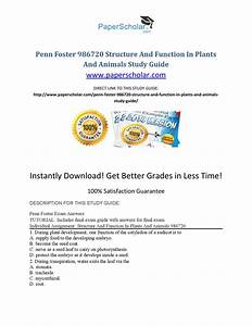 Penn Foster 986720 Structure And Function In Plants And