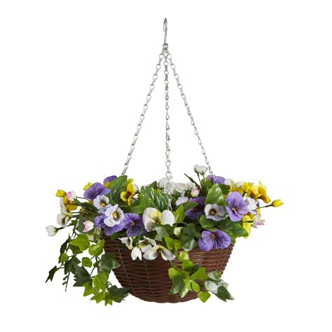 smart garden artificial pansy hanging basket  mm