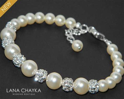 ee6c5310792 Pearl Bridal Bracelet Swarovski Ivory Pearl Silver Wedding