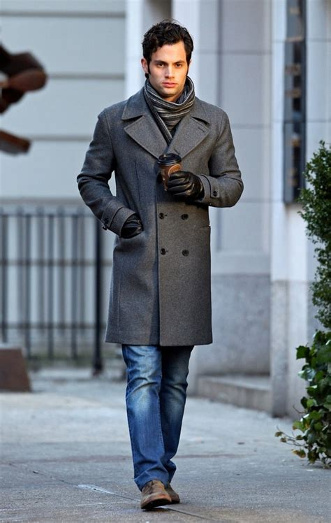 Trench Coat Striped Scarf Men Style