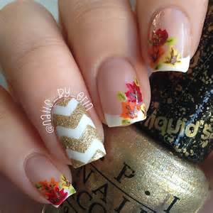 French Tip Nail Designs with Fall Leaves