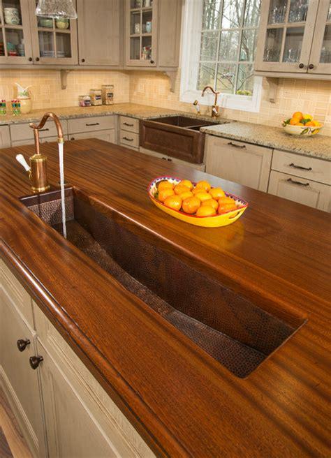 brass trough sink  kitchen island traditional