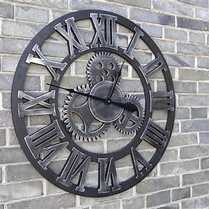 Römische Zahlen Uhr : wanduhr quarzuhr vintage zahnrad design metall r mische zahlen uhr 45cm silber ebay ~ Orissabook.com Haus und Dekorationen