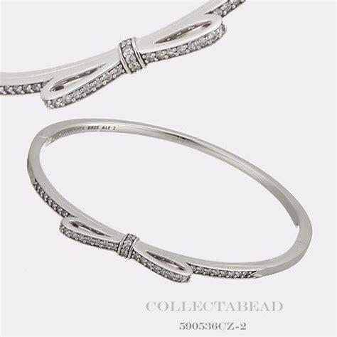 Authentic Pandora Silver Sparkling Bow CZ Bangle Bracelet