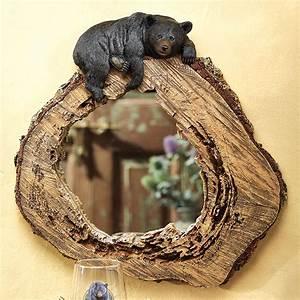Bear on Tree Trunk Mirror