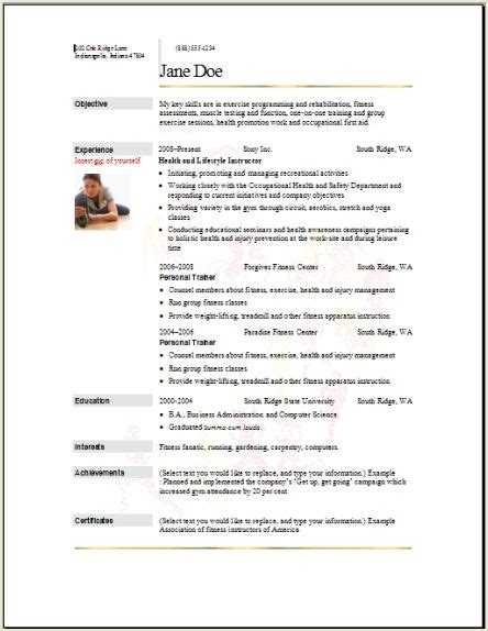 sample athletic resumes sports fitness resume occupational examples samples free