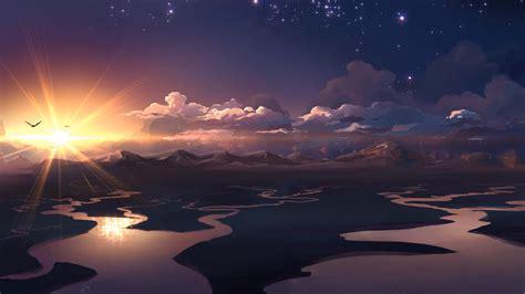 sunset anime art  ultrahd wallpaper wallpaper studio