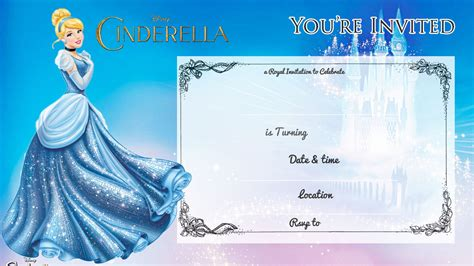 printable cinderella birthday invitation bagvania