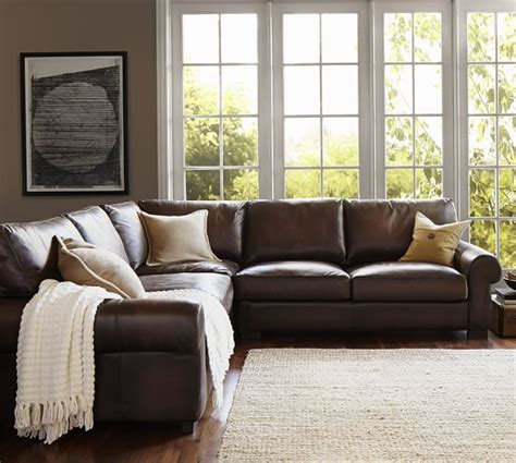 pottery barn turner sectional sofa turner roll arm leather 3 l shaped sectional