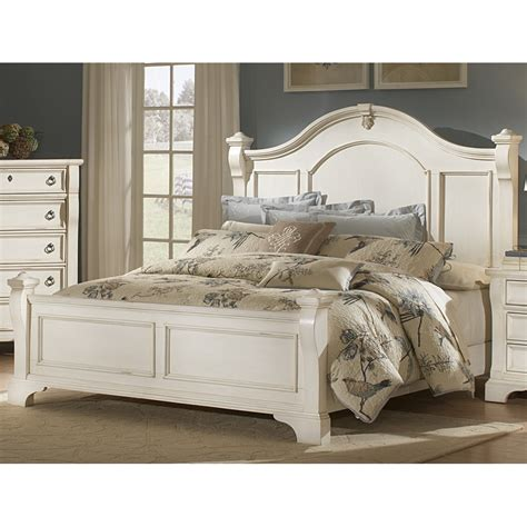 King Platform Bed With Fabric Headboard by Heirloom Wood Poster Bed In Antique White Humble Abode