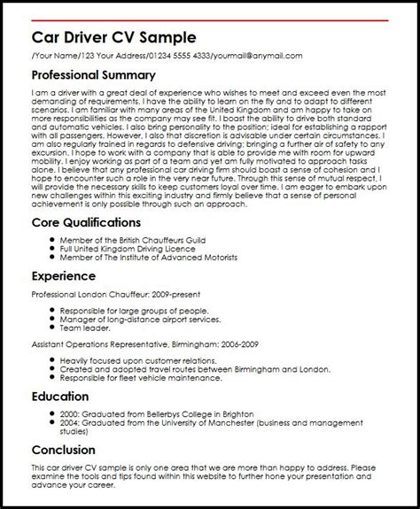 company cv car driver cv sample myperfectcv