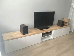 Meuble Blanc Et Bois : meuble tv blanc et bois id es de d coration int rieure french decor ~ Teatrodelosmanantiales.com Idées de Décoration