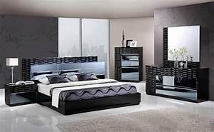 MANHATTAN KING SIZE MODERN BLACK BEDROOM SET 5PC GLOBAL