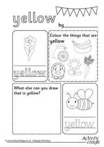 Free Printable Color Word Yellow Worksheet