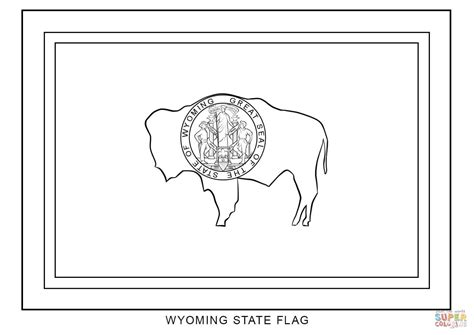 Wyoming State Flag Coloring Page Free Printable Coloring