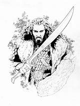 Hobbit Coloring Adult Thorin Printable Tolkien Legolas Colouring Smaug Kolorowanki Inspired Drawings Line Books Lord Rings Week His Shield Wooden sketch template
