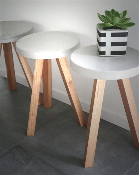 concrete top end table smooth edged concrete top side table with timber legs