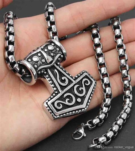large thor 39 s hammer pendant necklace huge chain and huge