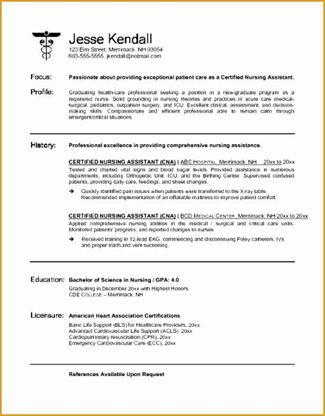 Resume Sle Word by 7 Best Resume Cna No Experience Free Sles Exles