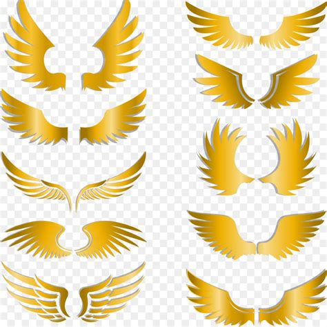clip art painted gold wings png