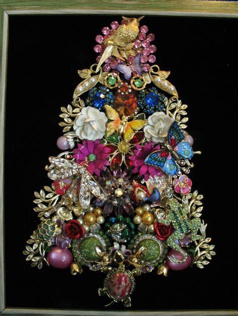 framed vintage jewelry christmas tree art garden turtle
