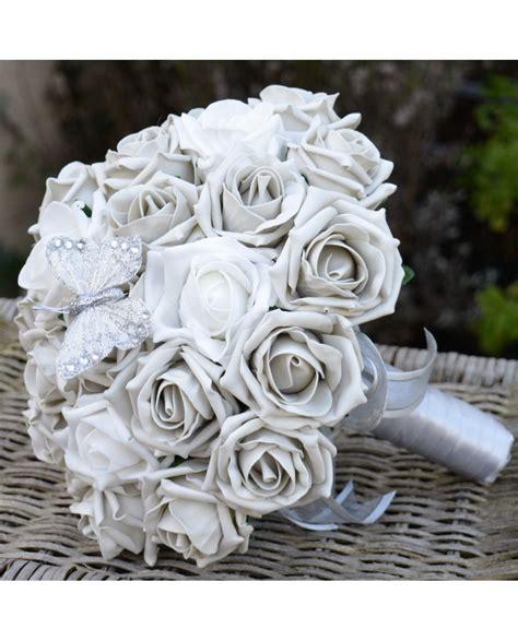 Brides Bouquet Silver Grey Rose Wedding Flowers Silver