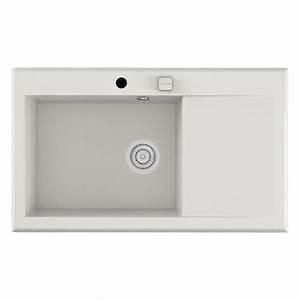 Evier En Gres Blanc 1 Bac : evier encastrer quartz et r sine blanc shira 1 bac avec ~ Premium-room.com Idées de Décoration