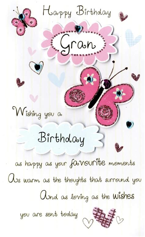 happy birthday gran embellished greeting card cards