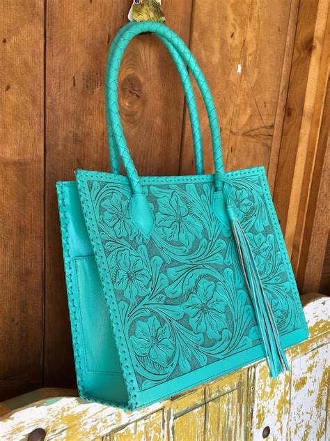 chula marcos large tooled leather turquoise tote bag